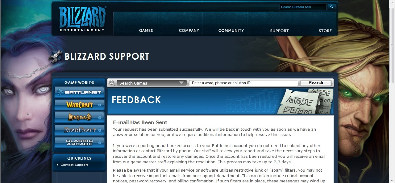 Blizzard Support page