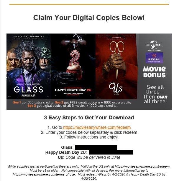 Regal provides codes for two movies at once