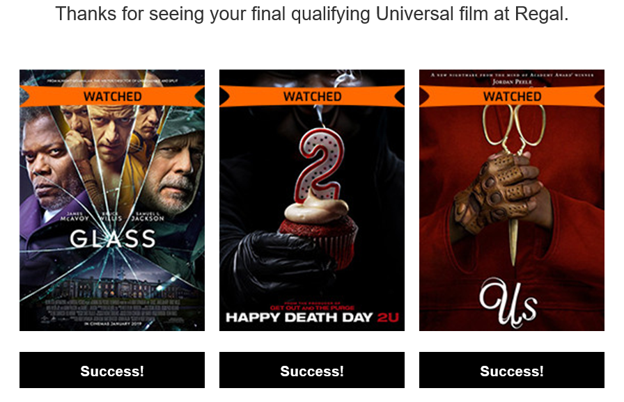 Regal/Universal movies unlocked