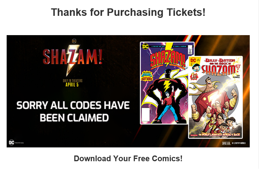 Regal/Comixology Shazam comic codes claimed
